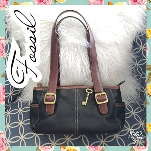 Fossil bag black leather purse brown 2 tone